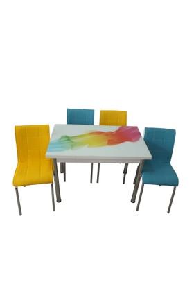 Mutfak Masası Takımı Cam Duman Yan Açılır Masa +2 Sarı +2 Mavi Deri Sandalye