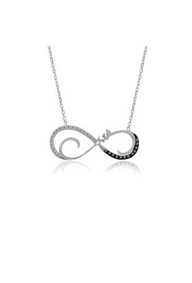 İndigo Takı Aşk Yazılı Beyaz Sonsuzluk Gümüş Kolye