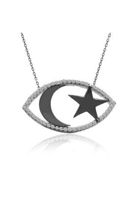 İndigo Takı Taşlı Siyah Ay Yıldız Beyaz Gümüş Kolye