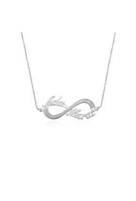 İndigo Takı Sevgiliye İki İsimli Sonsuzluk Gümüş Kolye