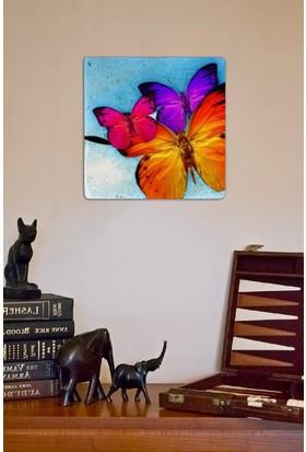 Oscar Stone Renkli Kelebekler Taş Tablo
