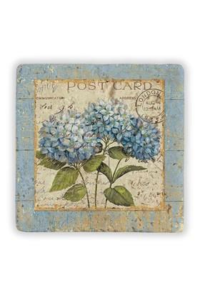 Oscar Stone Postcard Flower Taş Tablo