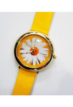 Köstebek Sarı Kordonlu Altın Sarı Papatya Kol Saati Ks297
