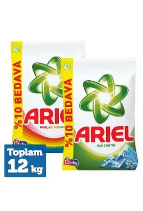 Ariel Matik Toz Deterjan Dağ Esintisi 6 Kg + Parlak Renkler 6 Kg