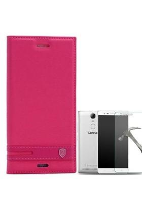Teleplus Lenovo K5 Note Mıknatıslı Lux Kapaklı Kılıf Pembe + Cam Ekran Koruyucu