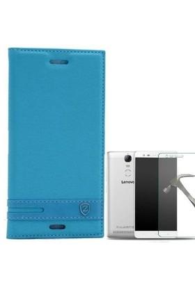 Teleplus Lenovo K5 Note Mıknatıslı Lux Kapaklı Kılıf Turkuaz + Cam Ekran Koruyucu