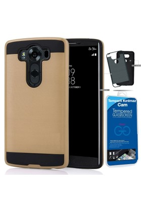 Teleplus LG V10 Çift Katmanlı Kapak Kılıf Gold + Cam Ekran Koruyucu