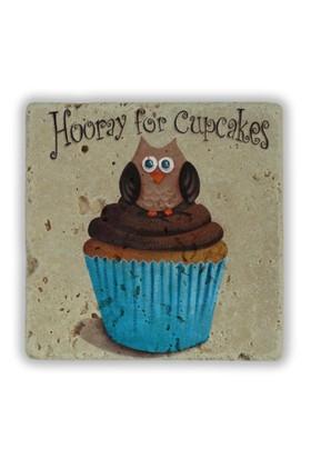 Oscar Stone Owl Cupcakes Taş Tablo