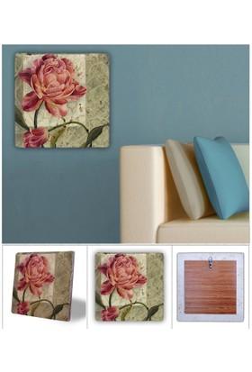Oscar Stone Kırmızı Çiçek Doğal Taş Tablo - 20X20 Cm