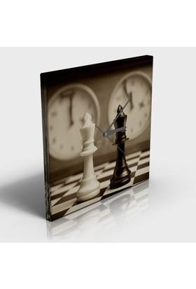Abella Tablo Ve Saat İkisi Birarada -30X30 Cm Satranç