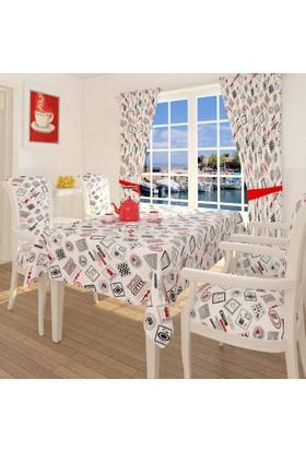 Misya Home Vintage Coffee Masa Örtüsü - Kırmızı - 140x170 cm