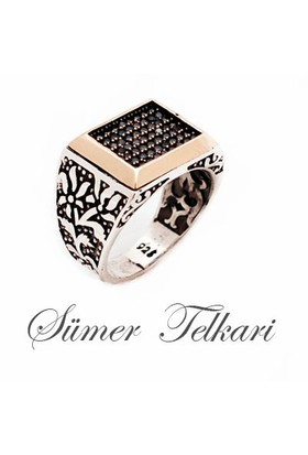 Sümer Telkari Siyah Safir Taşlı Modern Tasarım Dikdörtgen Gümüş Yüzük 183