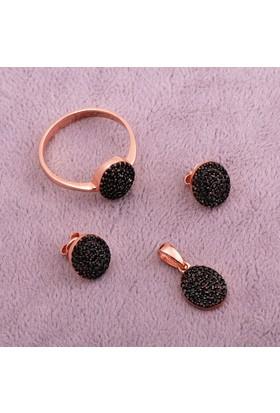 Sümer Telkari Siyah Safir Taşlı Ros Gümüş Set 1401