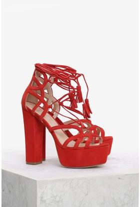 İlvi Bellina 97295 Sandalet Kırmızı Süet