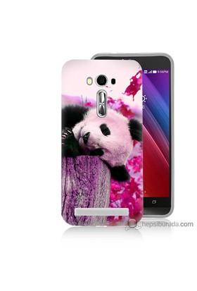 Bordo Asus Zenfone 2 Laser 5.5 Kapak Kılıf Sevimli Panda Baskılı Silikon