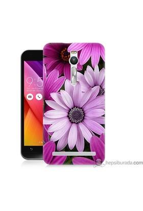 Bordo Asus Zenfone 2 Kapak Kılıf Mor Çiçek Baskılı Silikon