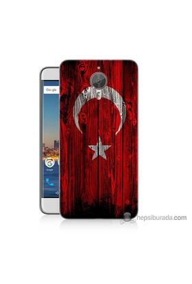 Bordo General Mobile Gm5 Plus Kapak Kılıf Türk Bayrağı Baskılı Silikon