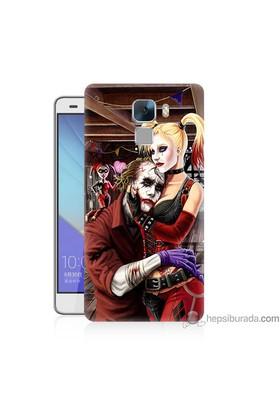 Bordo Huawei Honor 7 Kapak Kılıf Joker Ask Baskılı Silikon