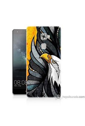 Bordo Huawei Mate S Kapak Kılıf Sarı Fon Kartal Baskılı Silikon