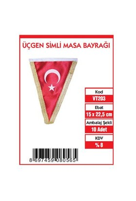 Vatan 15X22,5 Üçgen Simli Bayrak Vt203