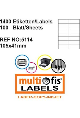 Multiofis 105X41 Mm Laser Etiket 5114