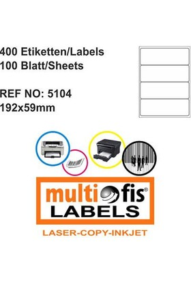 Multiofis 192X59 Mm Laser Etiket 5104