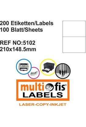 Multiofis 210X148,5 Mm Laser Etiket 5102