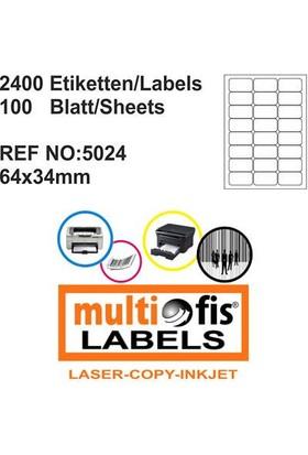 Multiofis 64X34 Mm Laser Etiket 5024