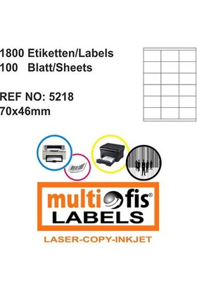Multiofis 70X46 Mm Laser Etiket 5218