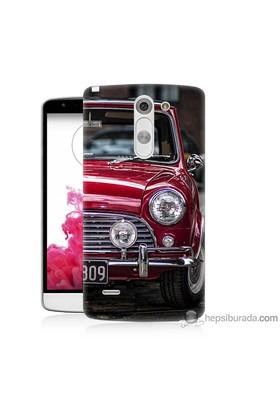 Bordo Lg G3 Stylus Kapak Kılıf Kırmızı Klasik Araba Baskılı Silikon