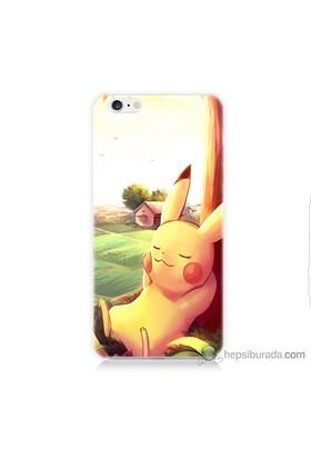 Bordo iPhone 6s Kapak Kılıf Pokemon Doğa Baskılı Silikon