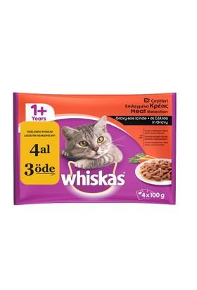 Whiskas Pouch Multipack Etli Çeşitli yaş kedi maması 4x100 Gr fd*