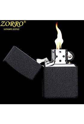 Zorro Siyah, Black Crackle Zippo Çakmak Benzini Hediyeli de15