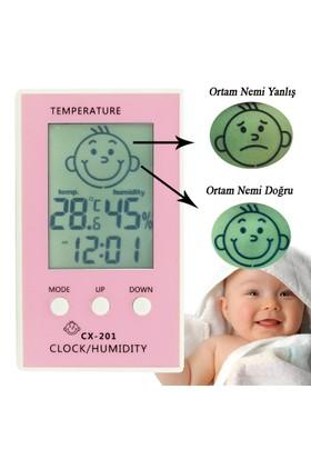 Çocuklar için İç Mekan Termometre ve Nem Ölçer,Saatli-thr103