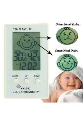 Çocuklar için İç Mekan Termometre ve Nem Ölçer,Saatli-thr104
