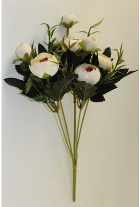 Yapay Çiçek Deposu Pastel Şakayık Gül Demeti (Beyaz)