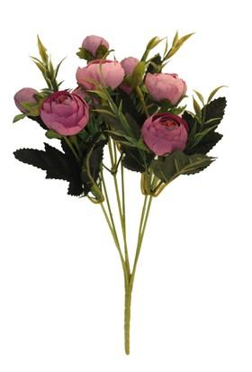 Yapay Çiçek Deposu Pastel Şakayık Gül Demeti (Pembe)