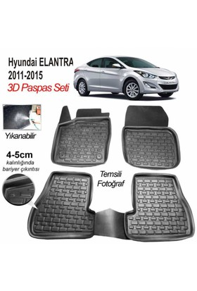 Image 3D Kauçuk Paspas Hyundai Elantra 2011-2015 Uyumlu Siyah