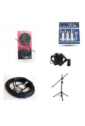 Home Stüdyo Seti F100 Mikser + Shock Mount + Pop Filtre