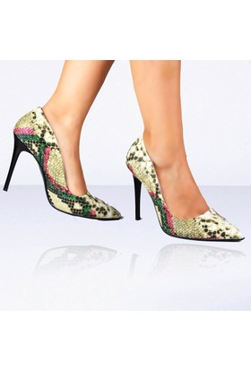 İnce Topuk Yeşil Yılan Desenli Stiletto