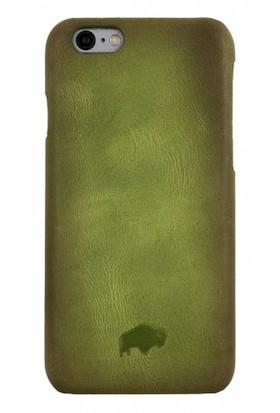 Burkley Apple iPhone 6 Plus / 6S Plus Snap On Gerçek Deri Green Rubber Kılıf