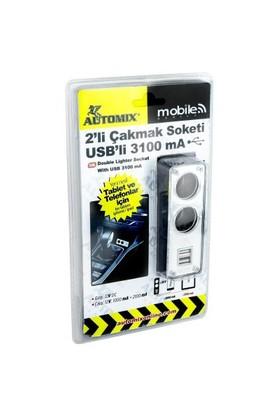 Automix 2 Li Usb Ve Çakmak Soketi 3100 mA
