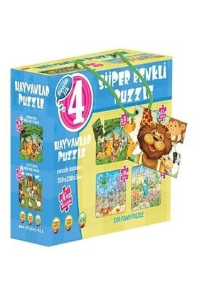 Hayvanlar 4'ü Bir Kutuda - Süper Renkli Puzzle
