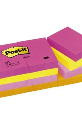 3M 653-Tfen Post-It Enerjik Renkler 38X51 Mm 12 Li