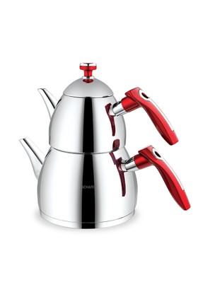 Schafer Rubin Büyük Boy Çaydanlık Kırmızı Paslanmaz Çelik