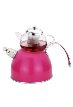 Arow S S Pembe Düdüklü Çaydanlık Takımı
