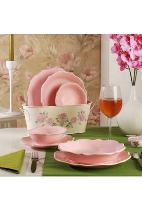 Keramika Romeo 24 Parça Yemek Takımı Açık Pembe