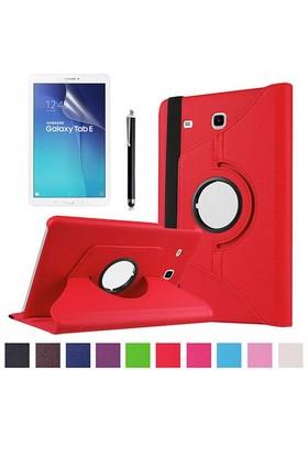 Kılıfland Samsung Galaxy Tab E T560 Kılıf 360 Standlı Kırmızı+Film+Kalem