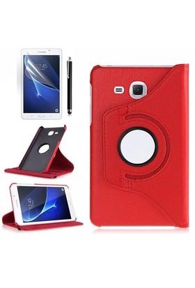 Kılıfland Samsung Galaxy Tab A T280 Kılıf 360 Standlı Kırmızı+Film+Kalem