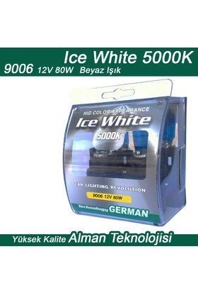 Ice White 9006 12V 80W Beyaz 2li Ampül Seti